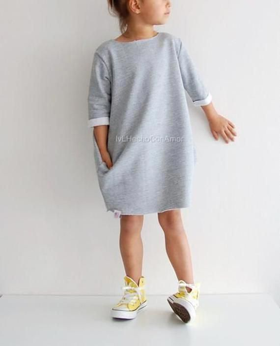 Knitted dress / gray dress / dress stretches / dress with sleeves dress for girls with long sleeves,all sizes,spring dress for a little girl 3
