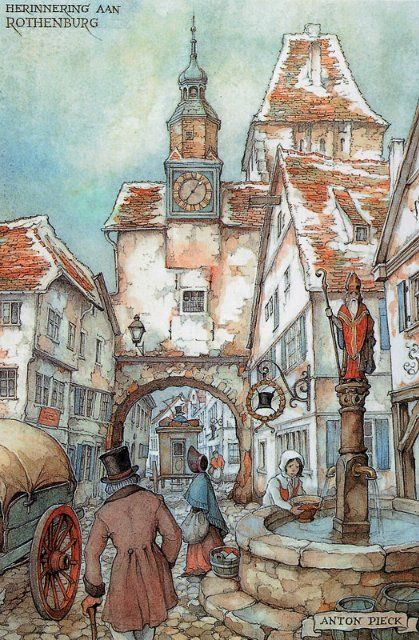 """Anton Pieck I did this Papertole Pic. for my parents about 20yrs ago, I called it """"The Wishing Well"""", love this work."""