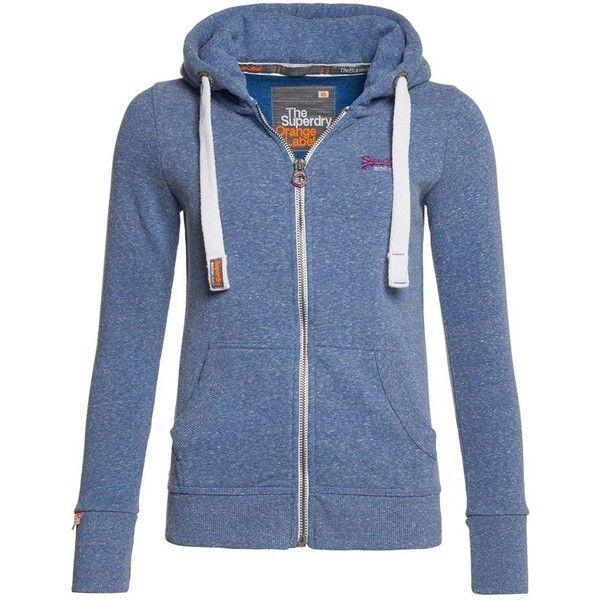 Superdry Orange Label Zip Hoodie ($73) ❤ liked on Polyvore featuring tops, hoodies, liberty blue, women, zippered hooded sweatshirt, orange zip up hoodie, zipper hoodies, blue zip hoodie and zip up hoodies