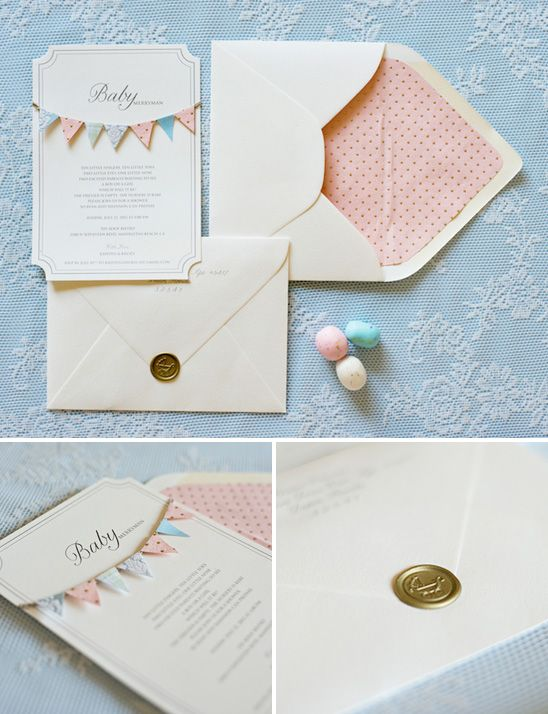 Elegant pink and blue baby shower invitation