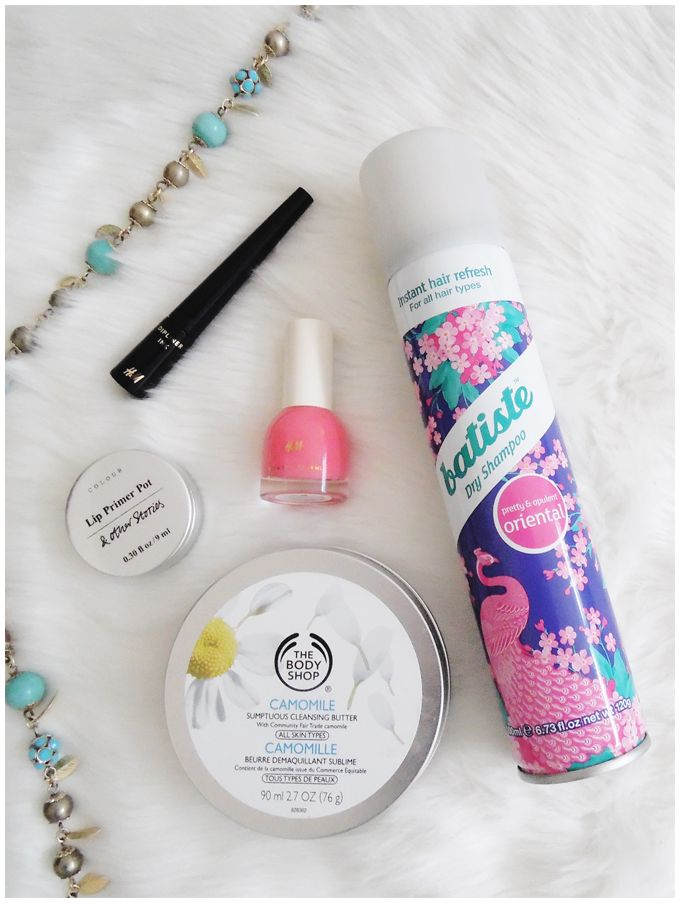 FAVORITE FIVE: MARCH 2016 favorite five beauty products | march 2016| the body shop chamomile sumptuous cleansing butter, batiste dry shampoo, h&m dipliner ink, & other stories lip primer pot, h&m happily ever after | more details on my blog http://junegold.blogspot.de | life & style diary from hamburg | #beauty #thebodyshop #batiste #hm #andotherstories #cleansingbutter #dryshampoo #eyeliner #lipprimer #nailpolish