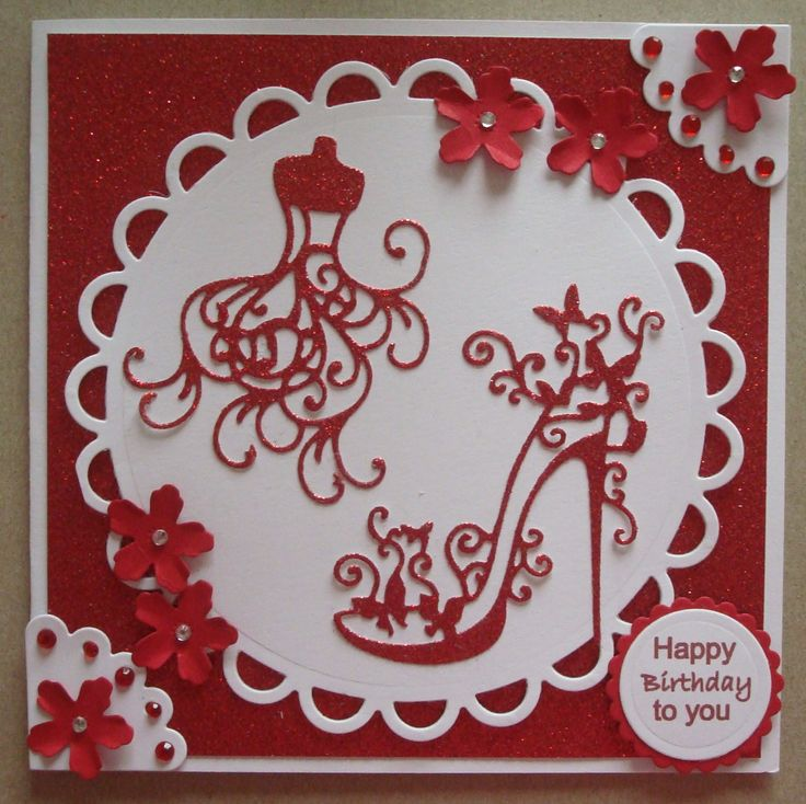G150 Hand made Birthday card using Tattered Lace High Heel Glam and Mannequin dies