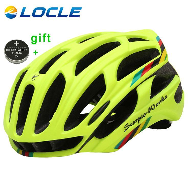 LOCLE Bersepeda Helm Jalan Gunung Dalam cetakan Helm Sepeda Ultralight Sepeda Helm Dengan LED Lampu Peringatan Casco Ciclismo