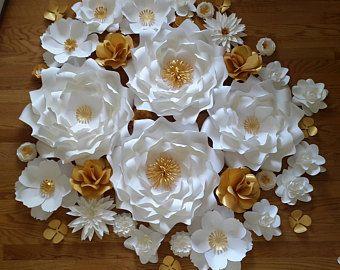 Flores de papel de papel flor telón de fondo, blanco y oro, flores de papel gigantes, Telón de fondo flor papel de graduación, apoyo de foto de graduación