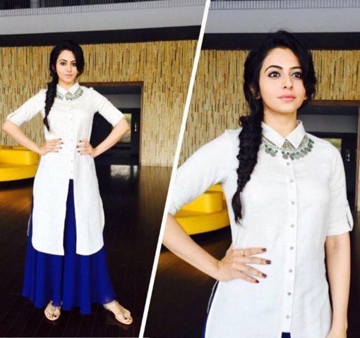 #rakulpreetofficial She looks gorgeous in the #globaldesi tunic for a TV show. #KeepItSimple n fun! #celebstyle #rakulpreet #fashion #bollywood #yaariyan #celebfashion #spotted #tunic #bohochic #freespirit #instalove
