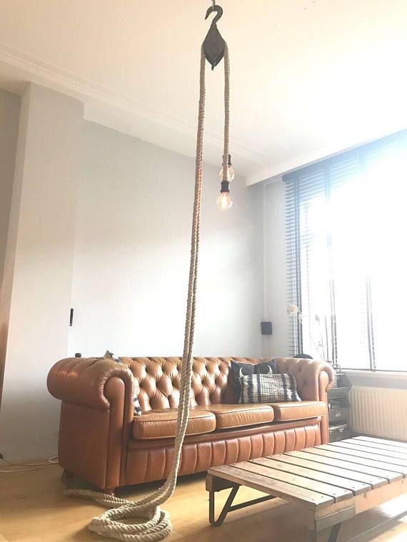 Top DUBBELE KATROL LAMP - hanglamp touw en katrol, 12 meter #JF23
