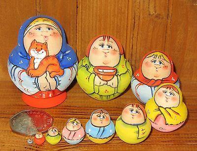 Russian tiny HAND PAINTED MINIATURE nesting MATRYOSHKA doll 10 Ginger Cat signed