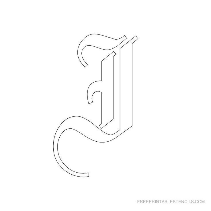 Printable Old English Alphabet Stencil I