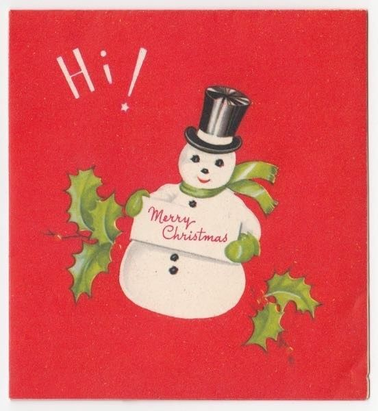 Vintage Greeting Card Merry Christmas Snowman Top Hat Holly Hi!