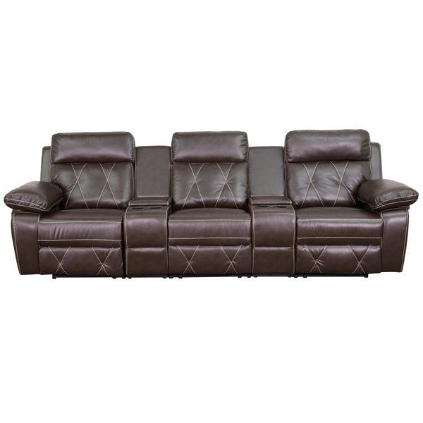 Flip through the latest hits on on-demand, grab some snacks, and call up your friends – it's time for movie night! But before you dim the lights and silence your cell phone, craft the perfect viewing space in your home. Start by setting a pair of these inviting sofas in your family room or den. Wrapped in leather and polyurethane upholstery with stitched detail, this three-seat design is brimming with traditional appeal. But more than just stylish, this seat also features a reclining desi...