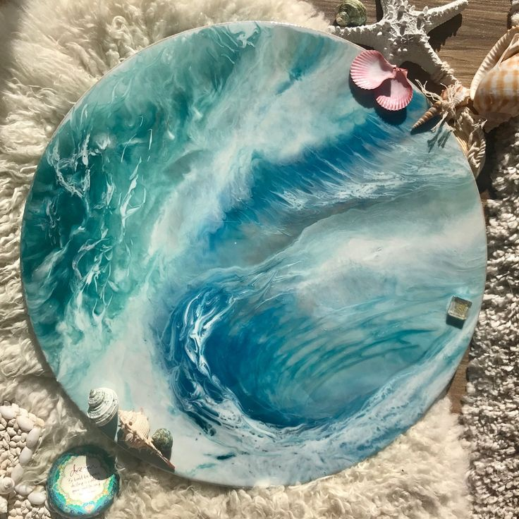 Teal Aqua Turquoise round wave artwork with whirlpool of surfing waves.  Vibrant and Colourful with white, blue and teal colors it was inspired by Mermaid beach in Gold Coast. Truly original and cu...