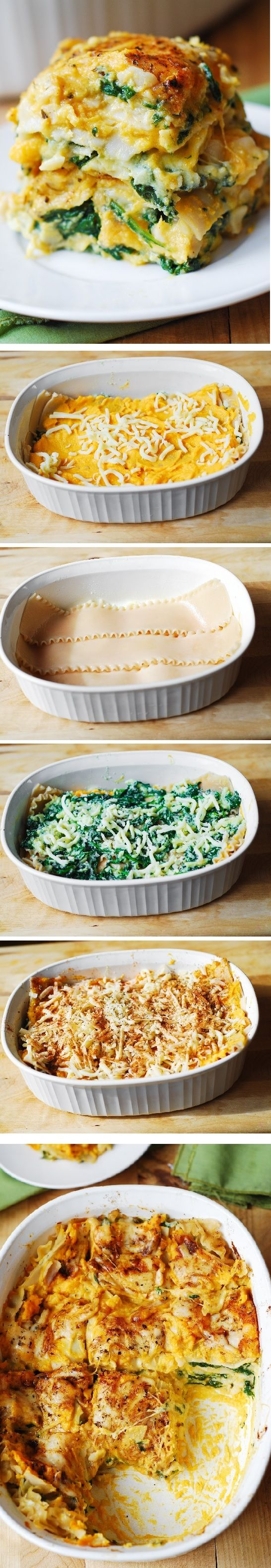Butternut Squash and Spinach Three Cheese Lasagna combines amazing flavors to create the ultimate Fall & Winter comfort food. #healthy #vegetarian #pasta #dinner (For gluten free version, use Tinkyada brown rice lasagna noodles)