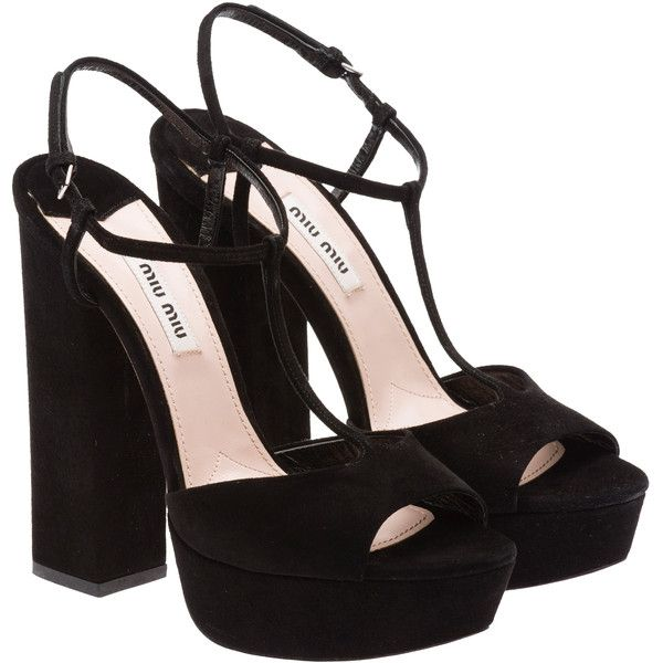 Miu Miu Sandals ($720) ❤ liked on Polyvore featuring shoes, sandals, heels, high heels, sapatos, black, platform sandals, kohl shoes, black heel sandals i black platform shoes