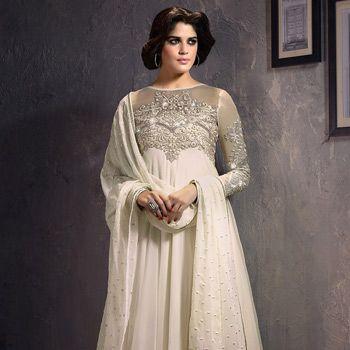 Off White Faux Georgette and Net Anarkali Churidar Kameez