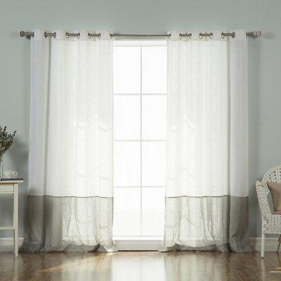 August Grove Sydnie Faux Linen Blend Colorblock Curtain Panels Color: