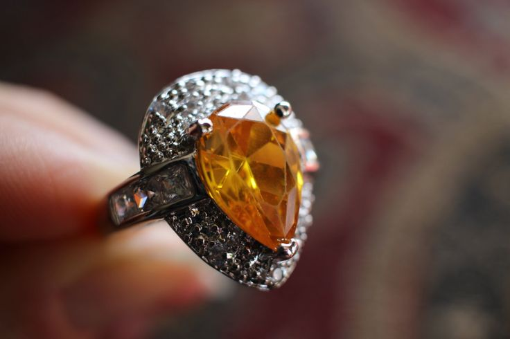 Vintage Pear Cut Yellow Citrine Ring, November Birth Stone, Size 8, Sterling Silver, Reiki, Solar Plexus Chakra, White Topaz by TwoBirdTwo on Etsy https://www.etsy.com/listing/254481102/vintage-pear-cut-yellow-citrine-ring