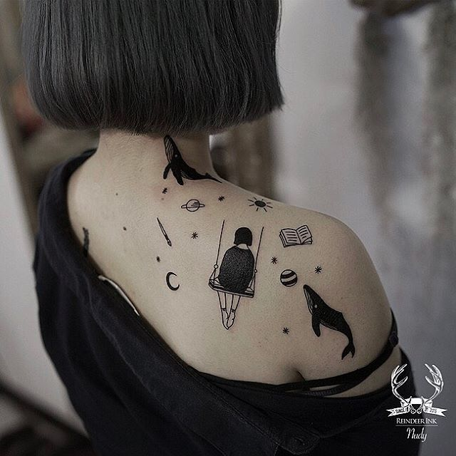 line work space and girl tattoo art on shoulder