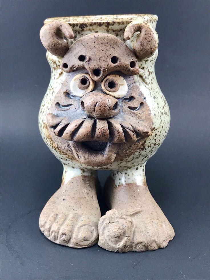 Signed Baalbergen Studio Pottery Ugly Mug with Feet Bear Tiger 8 oz  | eBay