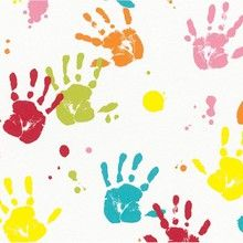 Multicoloured painted childrens handprints on a white background is a fantastic kids wallpaper. This is perfect for a baby's nursery or a children's bedroom and can be used in a girl's or a boy's bedroom.