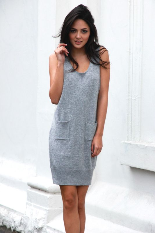 short notice knit dress by Madison Square: grey