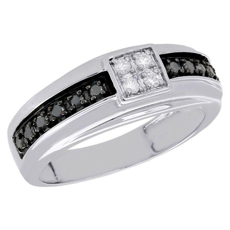 10k white gold over mens black diamond wedding band square