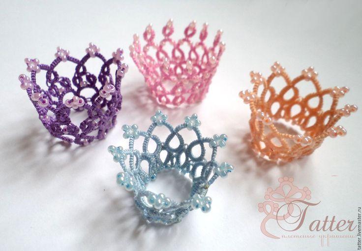 Купить Миниатюрные кружевные короны - орнамент, комбинированный, корона, корона для фотосессии, фриволите, кружевной