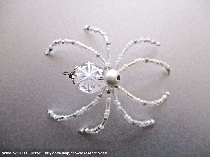 Ice Crystal White Shimmer Snowflake Beaded Christmas Spider w/ German Legend