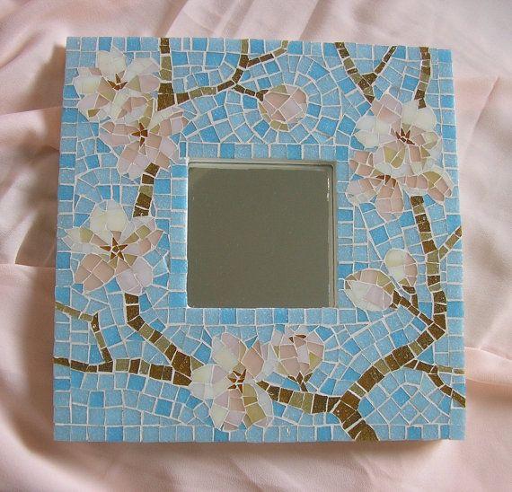 Glass Mosaic Mirror Sakura by EchoMosaic on Etsy, $185.00
