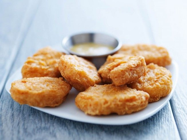 A recipe for McDonald's Chicken McNuggets made with vegetable oil, egg, water, all-purpose flour, salt, onion powder, MSG, black pepper