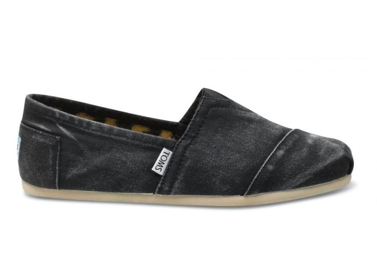 Denim Black Womens Stone-Washed Twill Toms Shoes