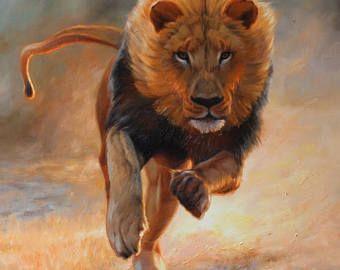 Lion on the Hunt, Lion oil painting, Running lion, Original lion painting
