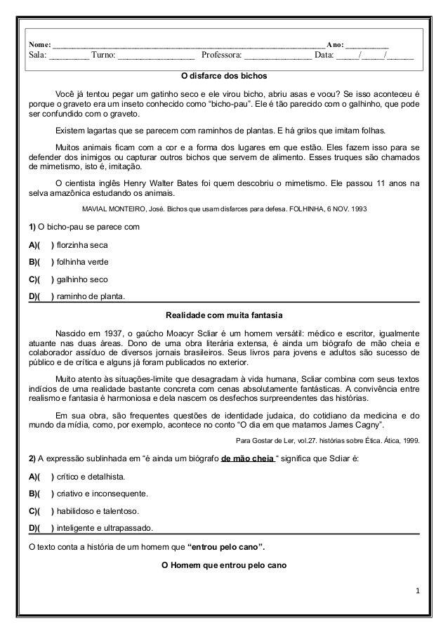 Avaliacao Diagnostica De Lingua Poruguesa Conteudos De