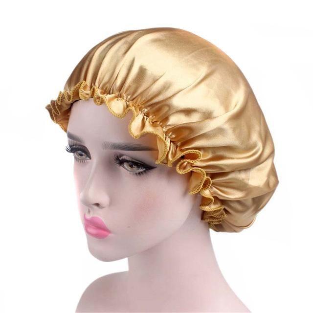 Lace Nightcap Long Hair Care Women Satin Bonnet Cap Night Sleep Hat Silk Cap Head Wrap Chemotherapy Hat Bone #C   – Products