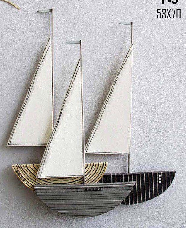 large ceramic Sailboat wall art 3d sculpture contemporary wall art