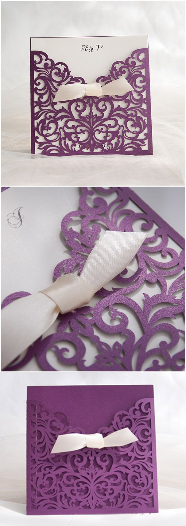 chic purple and ivory laser cut wedding invitations