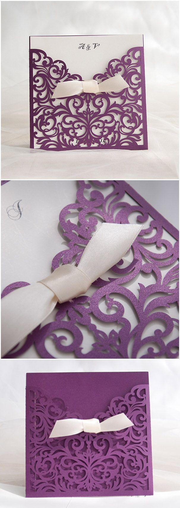 chic purple and ivory laser cut wedding invitations