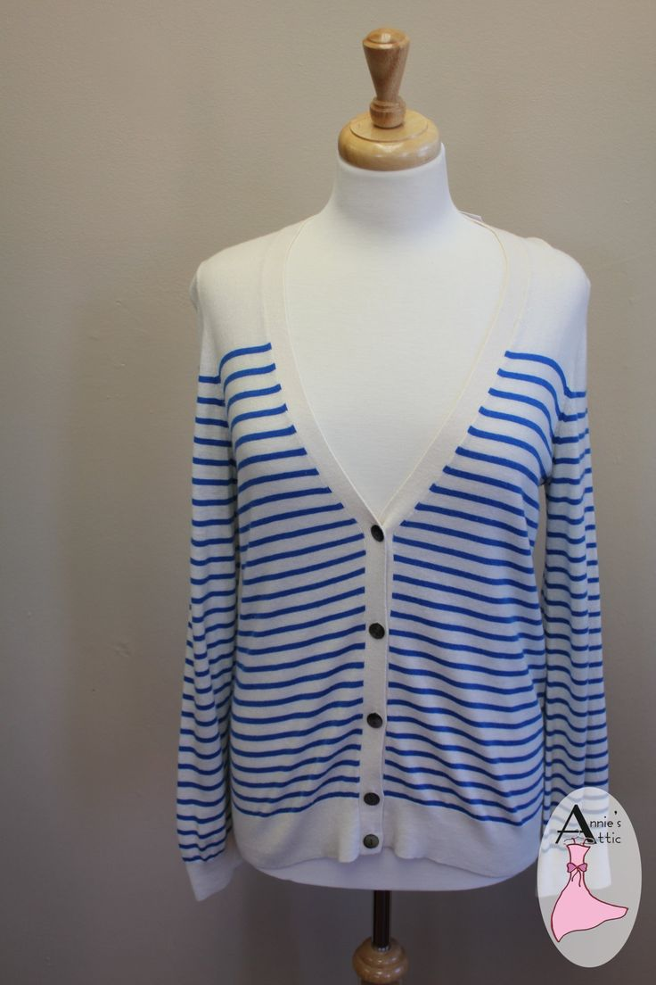 Ann Taylor Ivory With Blue Striped Cardigan - Great Layering Piece Ann Taylor cardigan, size MEDIUM Ivory with blue stripes Longer cardigan with 5 buttons down the front 42% rayon, 31% nylon, 23% polyester, 4% wool Good for those cool nights $16.00 http://stores.myresaleweb.com/annies-attic/item/ann-taylor?id=31559