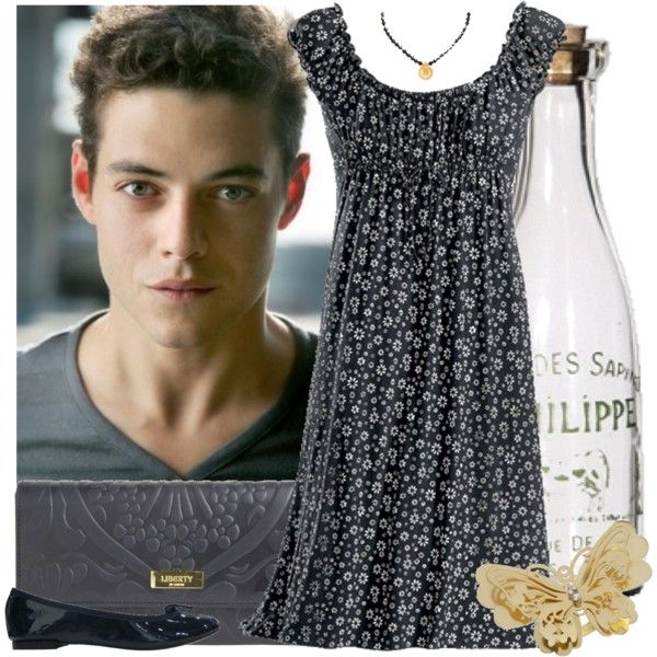 15/50 Celebrity Dates: Picnic with Rami Malek by circusfolk on Polyvore featuring Repetto, Liberty, Miss Selfridge, Shabby Chic, large ring, gold, flats, navy, butterfly and floral