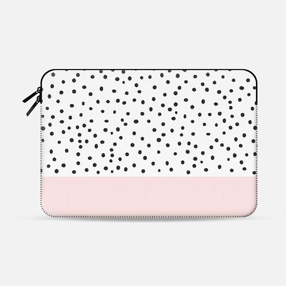 Pastel pink black watercolor polka dots pattern - Macbook Sleeve