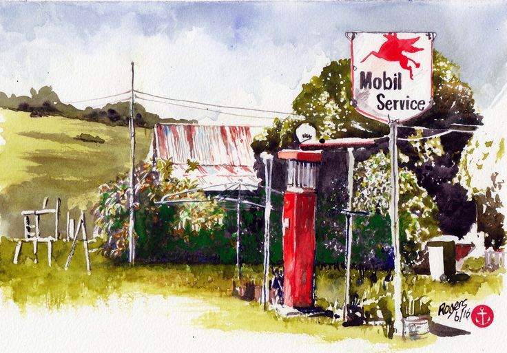 """""""Empty Pumps"""" These old service station pumps are dotted around the old towns of Australia. They are proud little sentinels of a bygone slower era in Australia's history. (Watercolour 250 x 180mm)"""