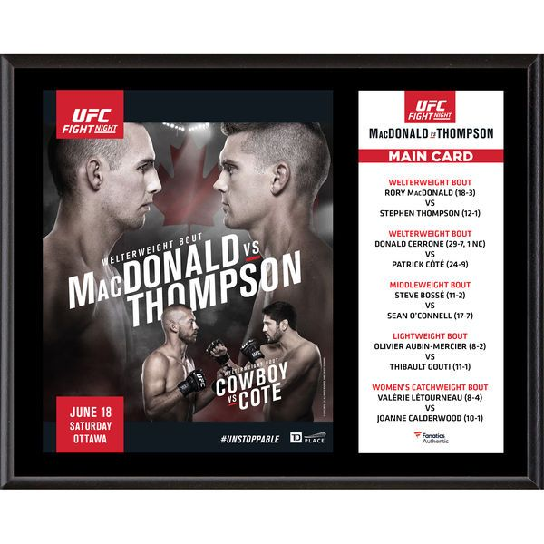 "Fanatics Authentic UFC Fight Night Rory MacDonald vs. Stephen Thompson Dueling ""I Was There"" 12"" x 15"" Sublimated Plaque - $39.99"
