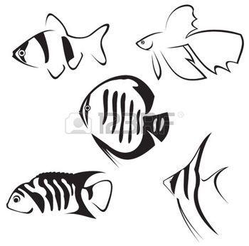 7784183-les-poissons-d-aquarium-dessin-au-trait-en-noir-et-blanc.jpg (350×346)