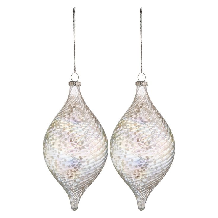 MUCCIO Set of 2 large glass drop clear sequin Christmas tree decorations