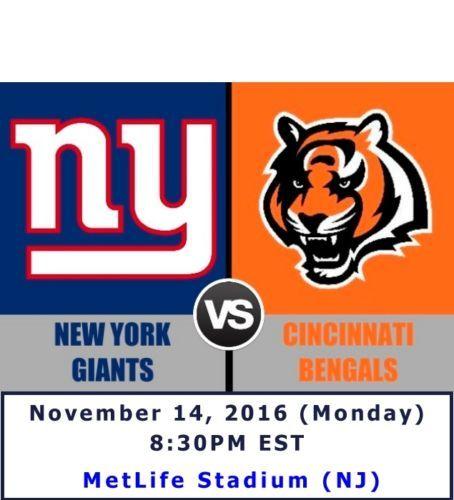 NY Giants vs Cincinnati Bengals NFL tickets. Lower Level. Nov 14, 2016 #NFL #football #Bengals #Cincinnati #NY #NYGiants #giants #tickets #ESPN