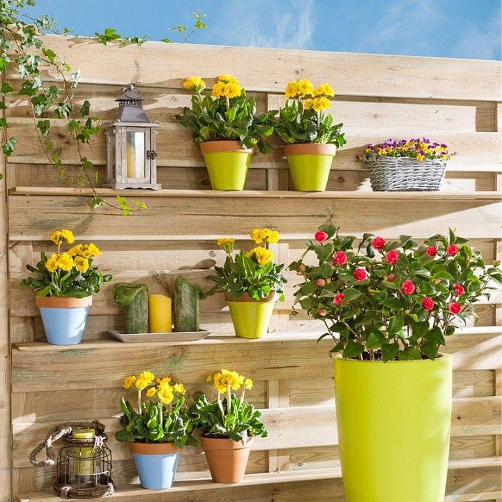 Leuk zo'n muur op mijn balkon, maar dan met potten in een andere kleur.
