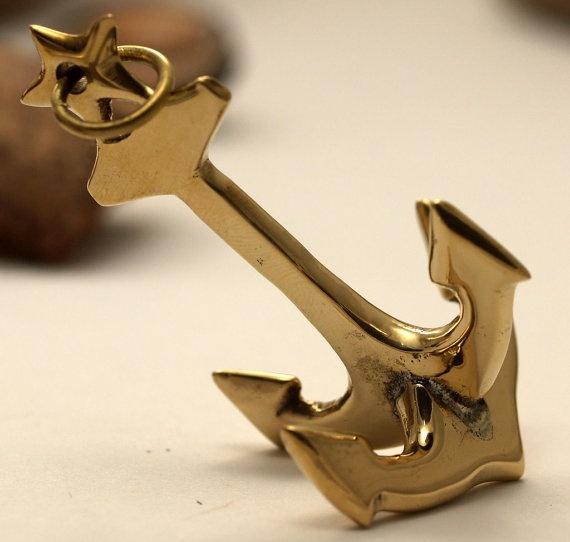 Pandant ancora din alama - 1 pc 62x38 mm Brass Anchor charms pendant findings de Dunare Breslo