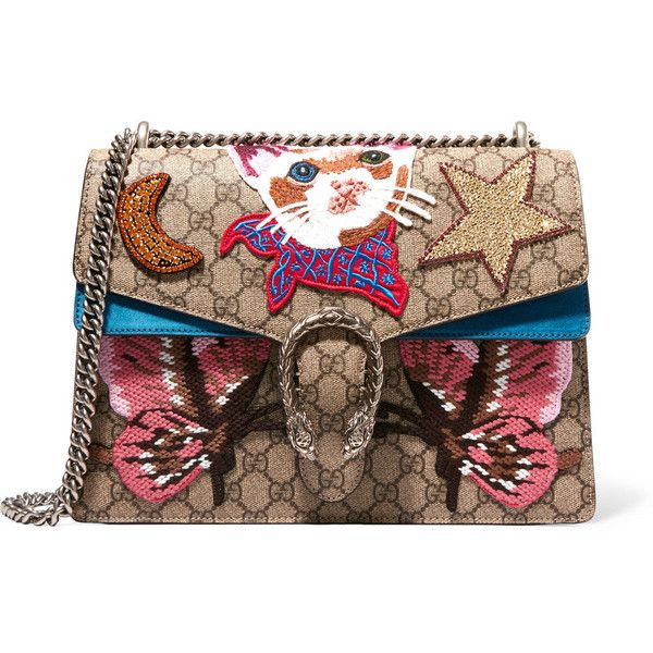 Gucci Dionysus large appliquéd coated canvas and suede shoulder bag (€3.270) ❤ liked on Polyvore featuring bags, handbags, shoulder bags, beige, suede purse, zip purse, zipper purse, shoulder bag purse and star purse