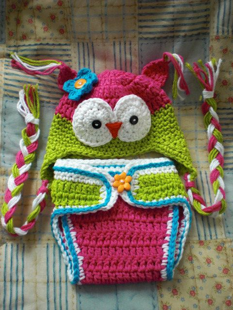 Free Crochet Owl Hat And Diaper Cover Pattern : 64 best images about Crochet diaper covers on Pinterest