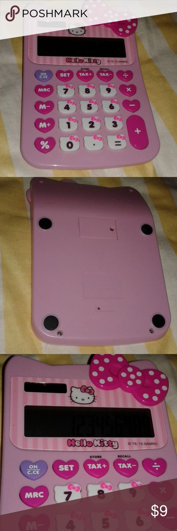 Hello Kitty Solar Calculator Cute pink calculator with adorable keys! Works! Appx 9 x 4. Hello Kitty Other