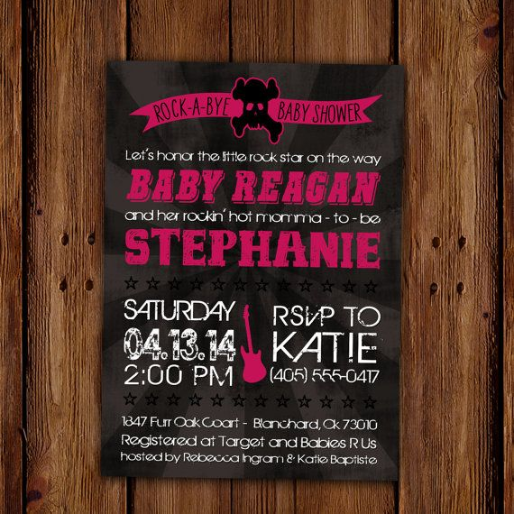 Rock-A-Bye Baby Shower Invitation - Rockstar and Guitar -  Skull and Cross Bones Baby Shower PRINTABLE on Etsy, $15.00